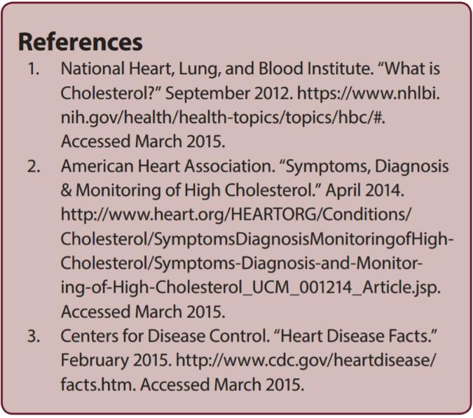 Cholesterol Counts References